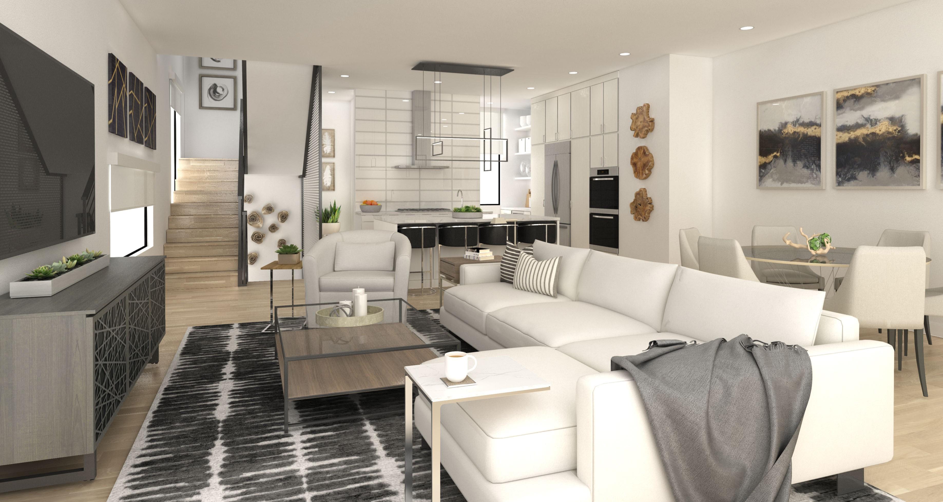 Living room interior render SU Podium