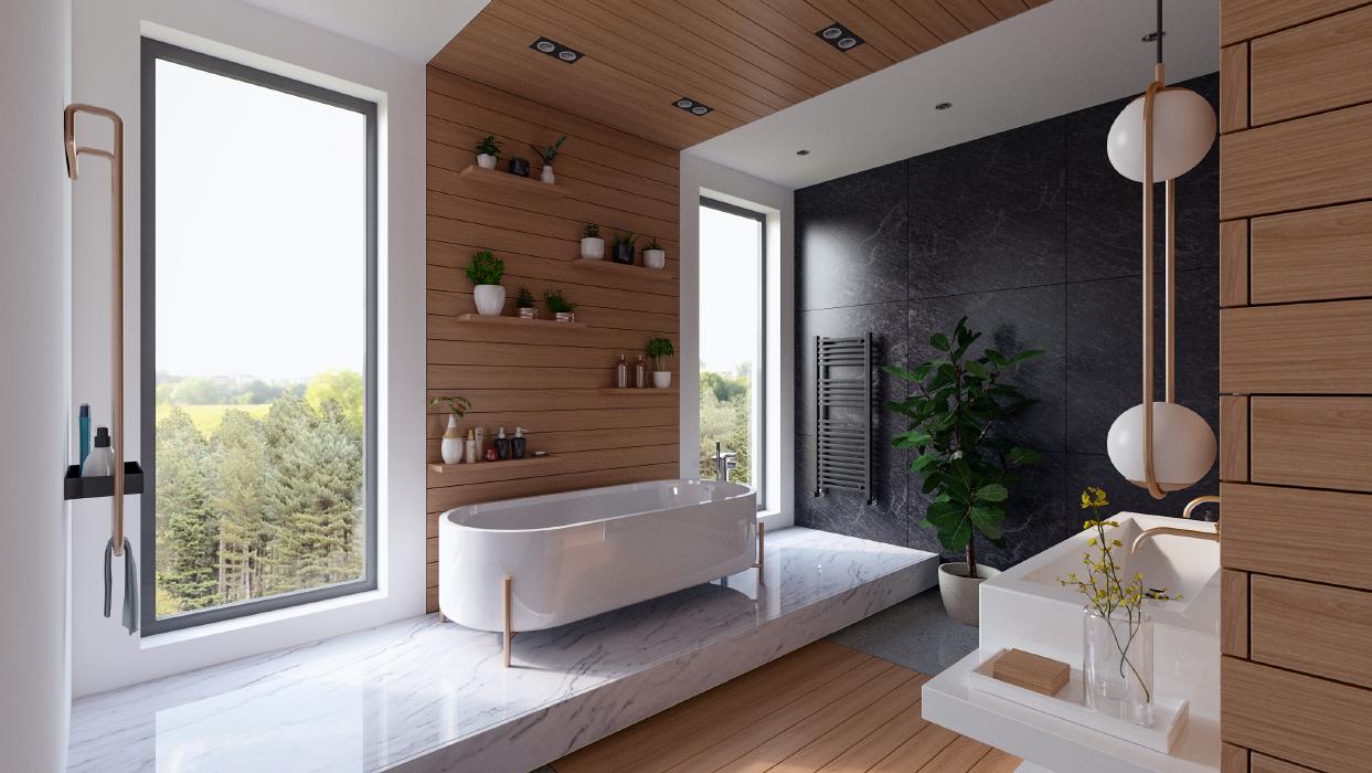 Bathroom interior render ProWalker GPU